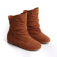 Suede Ankle Boots Wedges Women Shoes