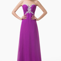 Purple Strapless Intricate Beaded Empire Waist Maxi Dress