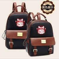 Boys bookbag trendy BTS kpop PU Kpop Bangtan Boys Schoolbag Women  Shoulder BTS EXO XXOO GOT7 b.a.p Bigbang Mountain tourism student canvas AT_51_3