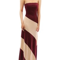 PattyBoutik Women's Striped Tube Maxi Dress (Burgundy and Champagne M)