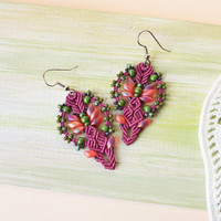 Magenta macrame earrings, bohemian earrings, flowerpot, beaded earrings, unique jewelry, beadwork, miniature flower, original gift for her