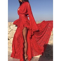 Te Amo Stylish Fam Maxi Dress in sexy red