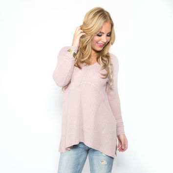 Be Mine Knit Top In Blush Pink