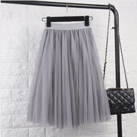 ♡ Tulle Elastic High Waist Pleated Midi Skirt ♡