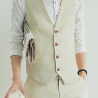 Fashion Solid Color Slimming Linen V-Neck Sleeveless Waistcoat and Pants For Men