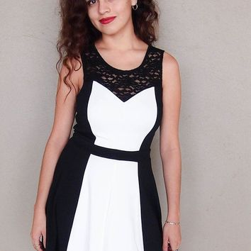 Kiss Me Slowly Black And Ivory Color Block Lace Dress