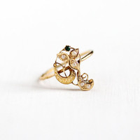 Antique Art Nouveau 14k Yellow Gold Flower Seed Pearl Ring - Size 7.5 Vintage Swirled Leaf Simulated Emerald Green Glass Fine Jewelry