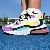 Bunchsun NIKE Air Max 270 React Fashion Women Men Multicolor Air Cushion Sport Running Shoes Sneakers 1#