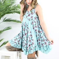 Blossom Blooms Teal Floral Handkerchief Dress