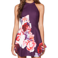 keepsake To The End Mini Dress in Plum