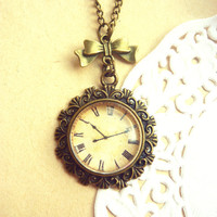 Vintage Antique Brass Bow Retro Clock  Necklace - Free Shipping - Made to order :)