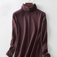 Casual Women Solid Long Sleeve Turtleneck Blouse