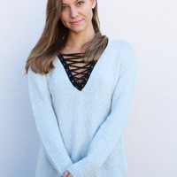 Can't Get Enough Lace-up Sweater {Gray}