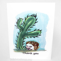 Thank You Card, Hedgehog Art, Cactus Print, Custom Message, Blank Card, Personalized Name, Cute Card, Pet Owner, Animal Lover, Any Occasion