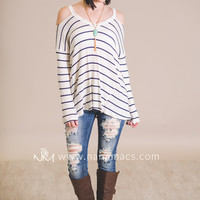 Hello Classy Pin Striped Open Shoulder Top (Navy)