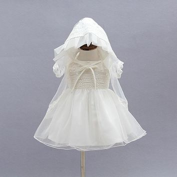 born Christening Gown Party Wedding Dress with Bonnet and Cape Baptism Dresses