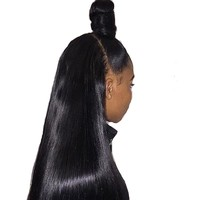 Queen like Brazilian Straight Human Hair Bundles Closure Non Remy With 13x4 Ear To Ear Lace Frontal Closure