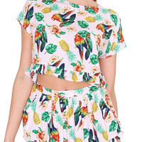 Tropical Sweetheart Crop Top - Pink Print