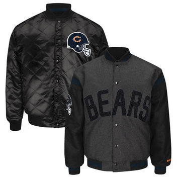 Chicago Bears Blue Line Reversible Wool Jacket – Charcoal/Black