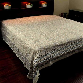 Block Print Tapestry Wall Hang Cotton Floral Tablecloth Bedspread Blue Pink Full
