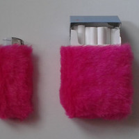 Furry Cute Set of Cigarette Case and Bic Lighter Case by Kerenika