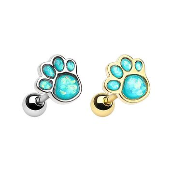 Gold & Silver Animal Lover Opal Paw Print Cartilage Tragus Earring