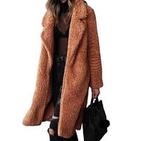 Warm Teddy Bear Fur Long Coat