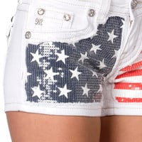 Miss Me Americana Cut out White Denim Shorts