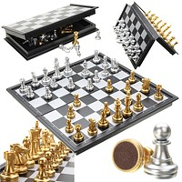 Chess Set Silver Gold Pieces Folding Magnetic Folding Board Contemporary Game