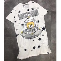 Moschino Women Fashion Print Short Sleeve Shirt Top Tee Dress