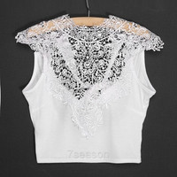 New Women's Women's Sheer Backless Sleeveless Short Vest Hollow Out White Lace Sexy Tank Tops 7_S