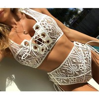 Lace High Waist Swimsuit Bikini Set