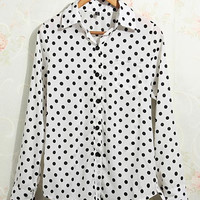 'The Kayna' Polka Dot Chiffon Long Sleeve Blouse