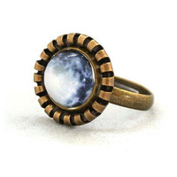 10% SALE - Ring Full Moon Glass Art Ring Picture Vintage Button Cute Design Copper Circle Shape