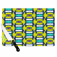 "Miranda Mol ""Party Vibes"" Yellow Teal Cutting Board"