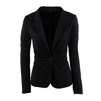 Women Casual Style Candy Color Short Length Blazer With One Button