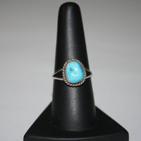 Large Turquoise Stone Ring Vintage Sterling Silver Ring Size 9 - free ship US