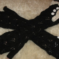 Black Lace Knit Arm Warmers, Fingerless gloves With Satin Buttons, Arm Warmers, Fingerless Gloves