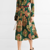 Gucci - Pleated printed silk crepe de chine midi dress