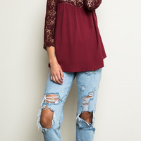 Lace Doll Tunic crisis cross lace and elegance tops burgundy