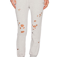 Pam & Gela Betsee Distressed Sweatpant in Light Gray