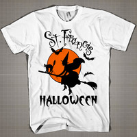 St. Francis Halloween  Mens and Women T-Shirt Available Color Black And White