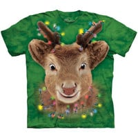 LIGHTS REINDEER The Mountain Funny Face Rudolph Ugly Christmas T-Shirt S-3XL NEW