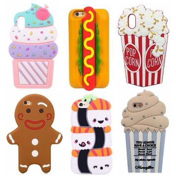 Food Hotdog Cupcake Fries Popcorn Chocolate Pineapple Sushi Ice Cream Silicone Case for iPhone XS Max XR X 8 6 6S 7 Plus 5 5S SE
