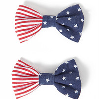 American Flag Hair Clip Set