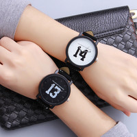 Fashion Simple Digital Unisex Watch Quartz Couple Leather Belt Watch