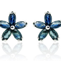 Blue Sapphire Flower Sterling Silver Earrings, Silver Sapphire Earrings Studs