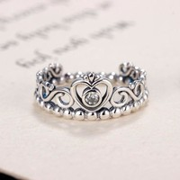 HOMOD Silver Color My Princess Queen Crown Engagement Pandora Ring with Clear CZ Women Jewelry Xmas Gift