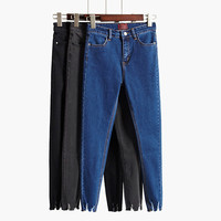 2016 new Summer style black jeans female trousers dark color High waist skinny pants Was thin elastic pencil pants  H6898