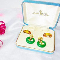 Vintage Trifari Signed Gold Interchangeable Earring Set Multi Color Hoops Gold Clips Original Box Estate Costume Fashion Jewelry Ex Cond